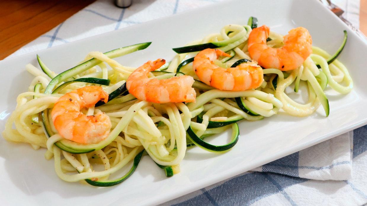 Espaguetis De Calabacin Con Gambas Cocinatis