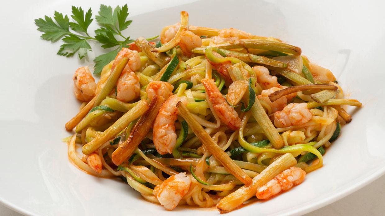 Receta De Espaguetis De Calabacin Con Gambas Joseba Arguinano